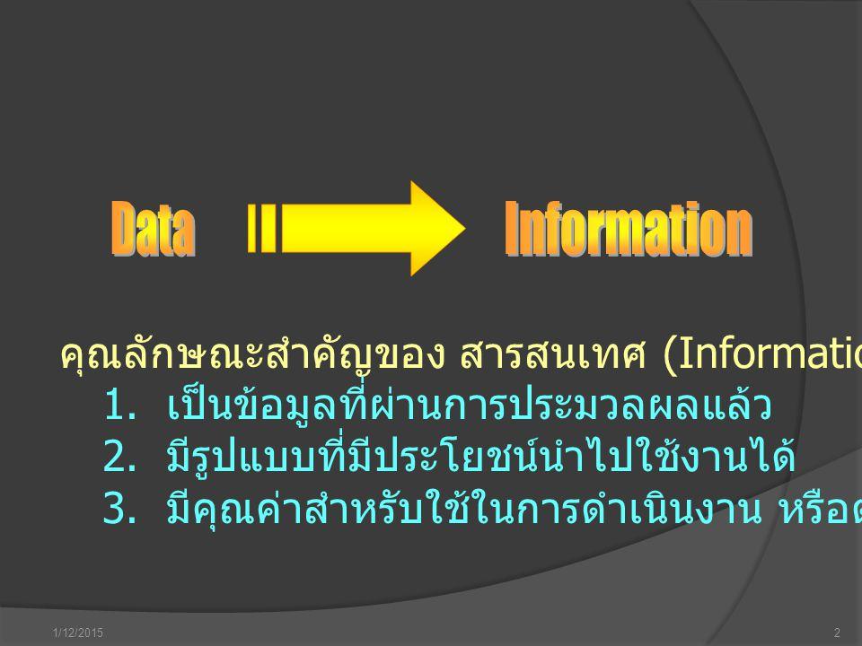 1/12/20152 คุณลักษณะสำคัญของ สารสนเทศ (Information) มี 3 ประการ คือ 1. เป็นข้อมูลที่ผ่านการประมวลผลแล้ว 2. มีรูปแบบที่มีประโยชน์นำไปใช้งานได้ 3. มีคุณ