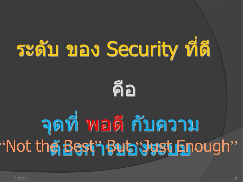 """1/12/201522 ระดับ ของ Security ที่ดี คือ จุดที่ พอดี กับความ ต้องการของระบบ """" Not the Best """" But """" Just Enough """""""