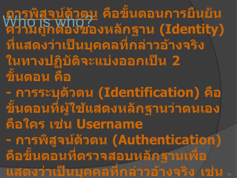 24 การพิสูจน์ตัวตน คือขั้นตอนการยืนยัน ความถูกต้องของหลักฐาน (Identity) ที่แสดงว่าเป็นบุคคลที่กล่าวอ้างจริง ในทางปฏิบัติจะแบ่งออกเป็น 2 ขั้นตอน คือ -
