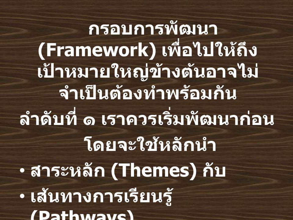 กรอบการพัฒนา (Framework) เพื่อไปให้ถึง เป้าหมายใหญ่ข้างต้นอาจไม่ จำเป็นต้องทำพร้อมกัน ลำดับที่ ๑ เราควรเริ่มพัฒนาก่อน โดยจะใช้หลักนำ สาระหลัก (Themes) กับ เส้นทางการเรียนรู้ (Pathways) นำมาหาจุดตัด (Matrix)