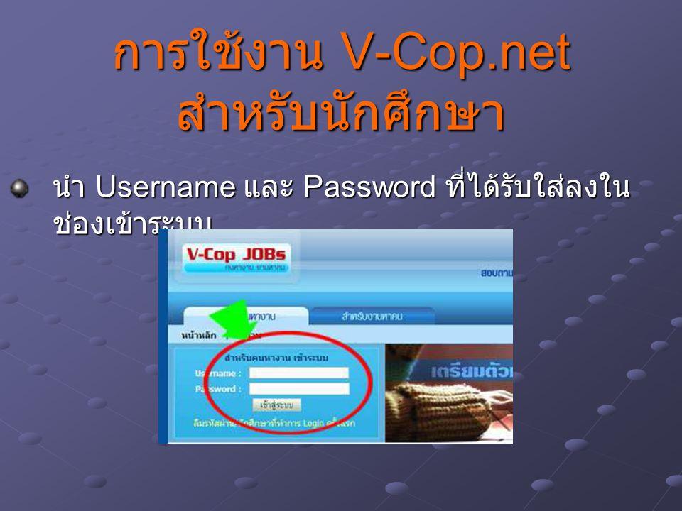 การใช้งาน V-Cop.net สำหรับนักศึกษา นำ Username และ Password ที่ได้รับใส่ลงใน ช่องเข้าระบบ