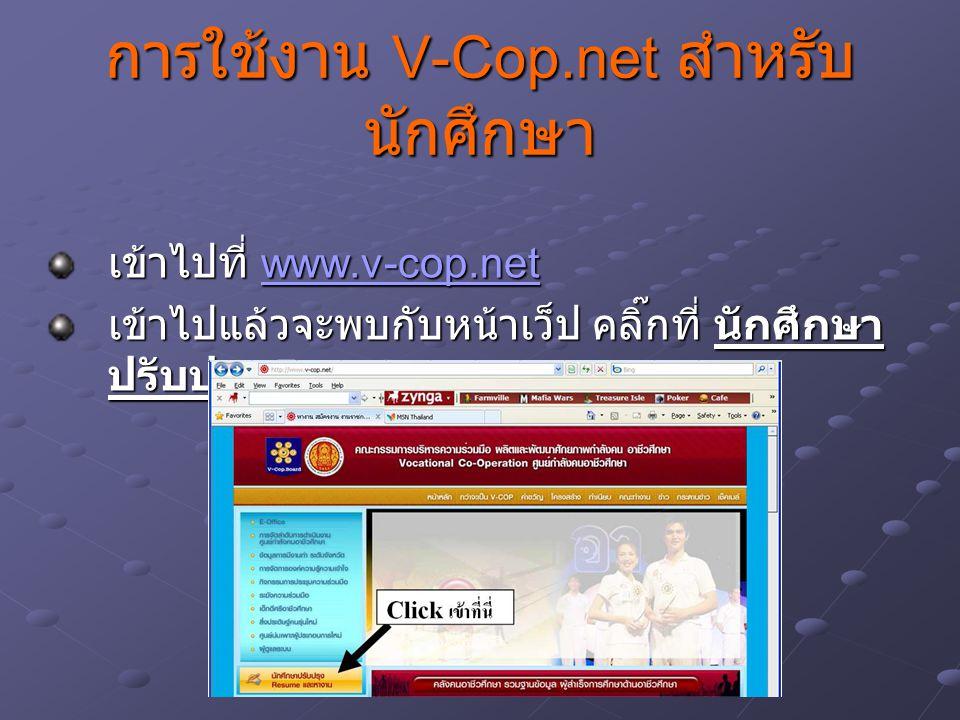 การใช้งาน V-Cop.net สำหรับ นักศึกษา เข้าไปที่ www.v-cop.net www.v-cop.net เข้าไปแล้วจะพบกับหน้าเว็ป คลิ๊กที่ นักศึกษา ปรับปรุง Resume