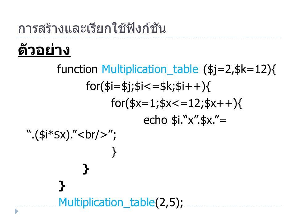 การสร้างและเรียกใช้ฟังก์ชัน ตัวอย่าง function Multiplication_table ($j=2,$k=12){ for($i=$j;$i<=$k;$i++){ for($x=1;$x<=12;$x++){ echo $i. x .$x. = .($i*$x). ; } Multiplication_table(2,5);