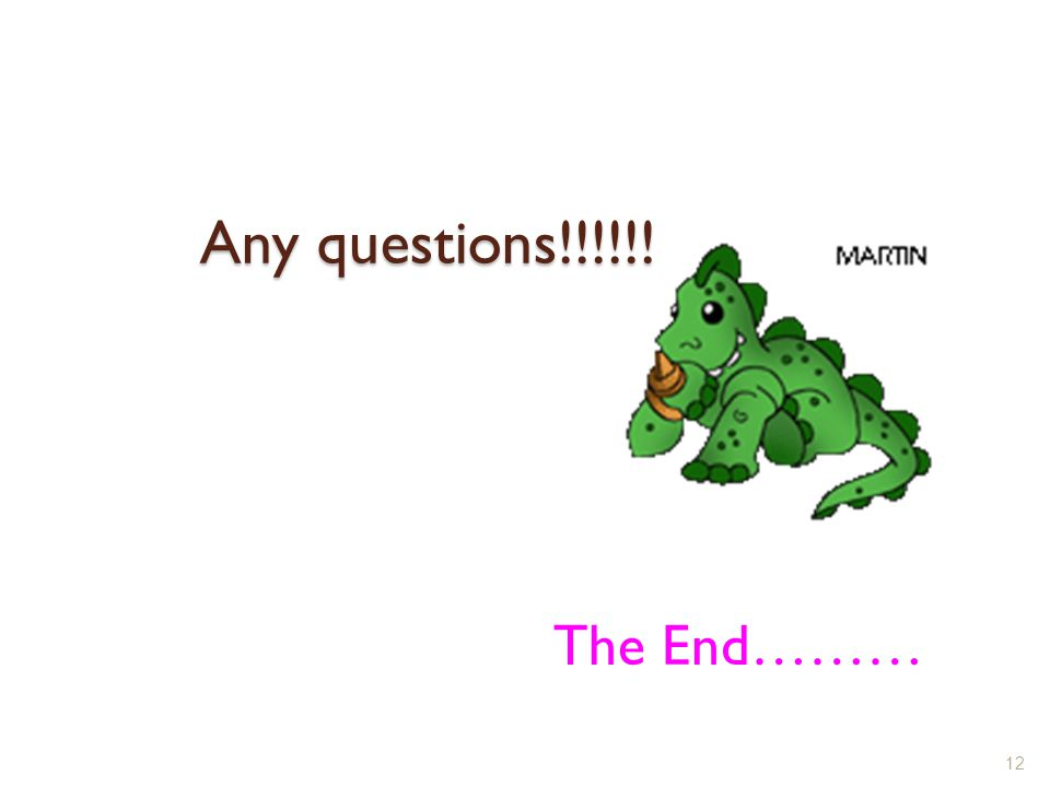 Any questions!!!!!! 12 The End………