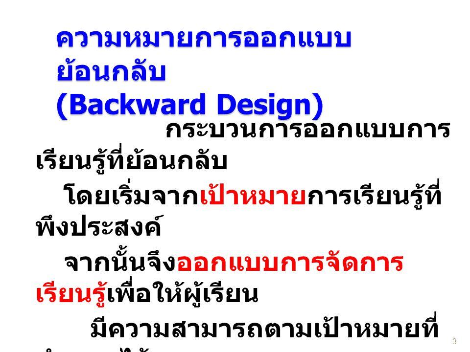ความหมายการออกแบบ ย้อนกลับ (Backward Design) กระบวนการออกแบบการ เรียนรู้ที่ย้อนกลับ โดยเริ่มจากเป้าหมายการเรียนรู้ที่ พึงประสงค์ จากนั้นจึงออกแบบการจั