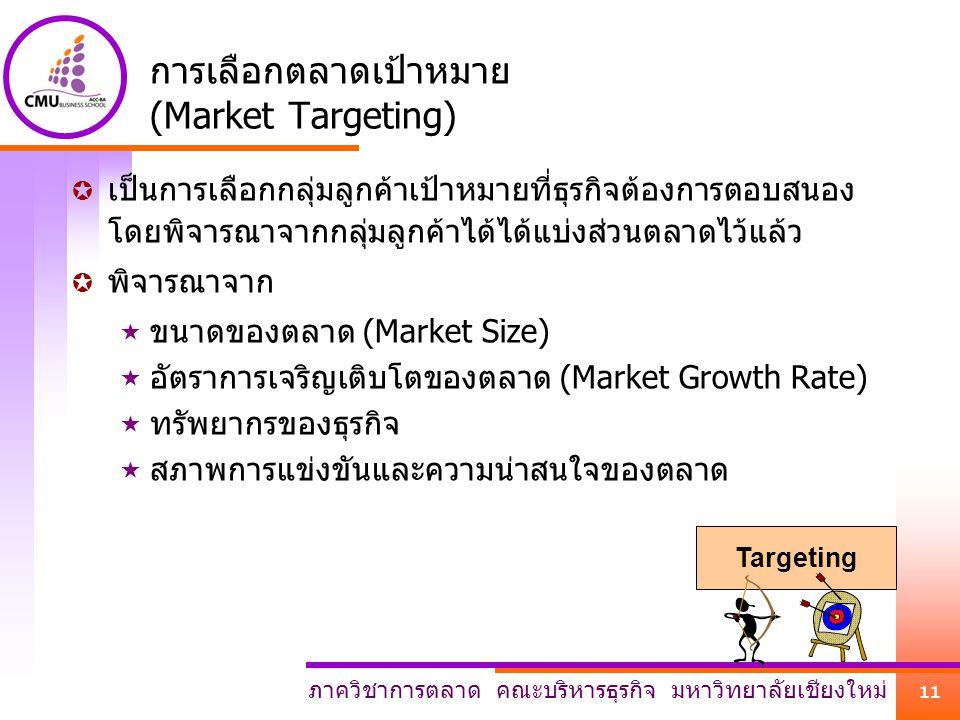 ภาควิชาการตลาด คณะบริหารธุรกิจ มหาวิทยาลัยเชียงใหม่ 11 การเลือกตลาดเป้าหมาย (Market Targeting)  เป็นการเลือกกลุ่มลูกค้าเป้าหมายที่ธุรกิจต้องการตอบสนอ