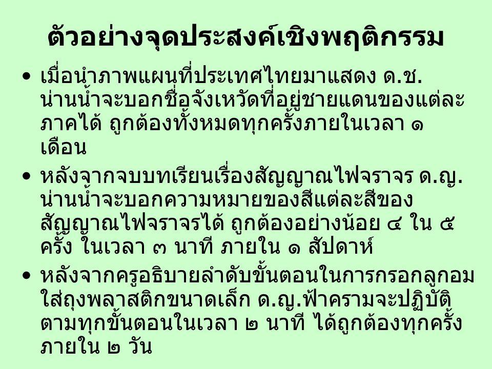 ตัวอย่างจุดประสงค์เชิงพฤติกรรม เมื่อนำภาพแผนที่ประเทศไทยมาแสดง ด.ช. น่านน้ำจะบอกชื่อจังเหวัดที่อยู่ชายแดนของแต่ละ ภาคได้ ถูกต้องทั้งหมดทุกครั้งภายในเว