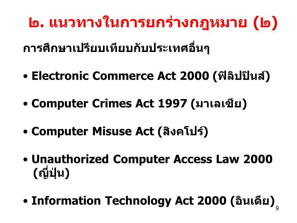 9 ๒. แนวทางในการยกร่างกฎหมาย (๒) การศึกษาเปรียบเทียบกับประเทศอื่นๆ Electronic Commerce Act 2000 (ฟิลิปปินส์) Computer Crimes Act 1997 (มาเลเซีย) Compu