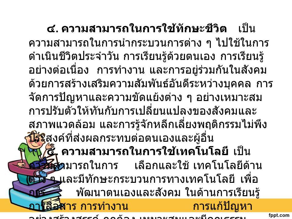 หลักสูตรแกนกลางการศึกษาขั้นพื้นฐาน มุ่งพัฒนาผู้เรียน ให้มีคุณลักษณะอันพึงประสงค์ เพื่อให้สามารถอยู่ร่วมกับผู้อื่น ในสังคมได้อย่างมีความสุข ในฐานะเป็นพลเมืองไทยและพล โลก ดังนี้ 1.