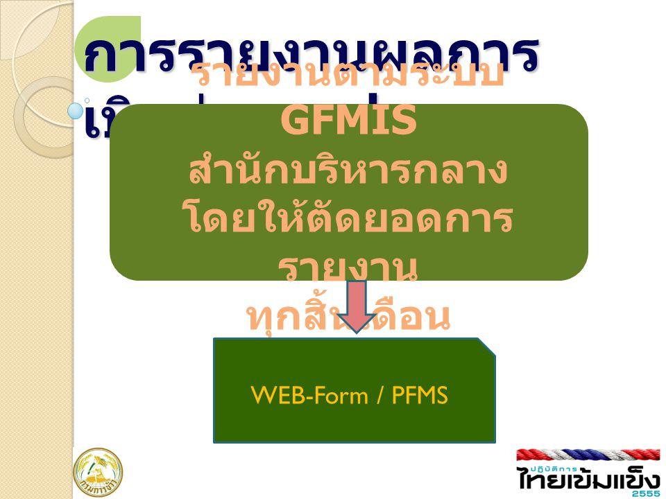 การรายงานผลการ เบิกจ่ายงบประมาณ รายงานตามระบบ GFMIS สำนักบริหารกลาง โดยให้ตัดยอดการ รายงาน ทุกสิ้นเดือน WEB-Form / PFMS