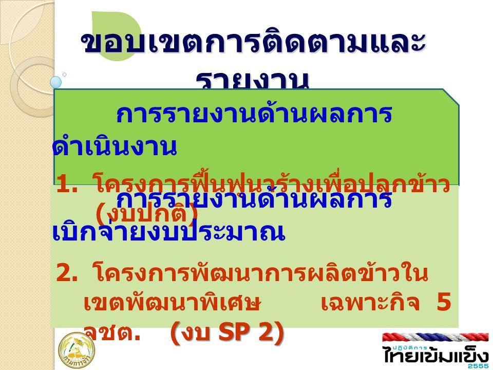 ขอบเขตการติดตามและ รายงาน 1. โครงการฟื้นฟูนาร้างเพื่อปลูกข้าว ( งบปกติ ) ( งบ SP 2) 2. โครงการพัฒนาการผลิตข้าวใน เขตพัฒนาพิเศษ เฉพาะกิจ 5 จชต. ( งบ SP