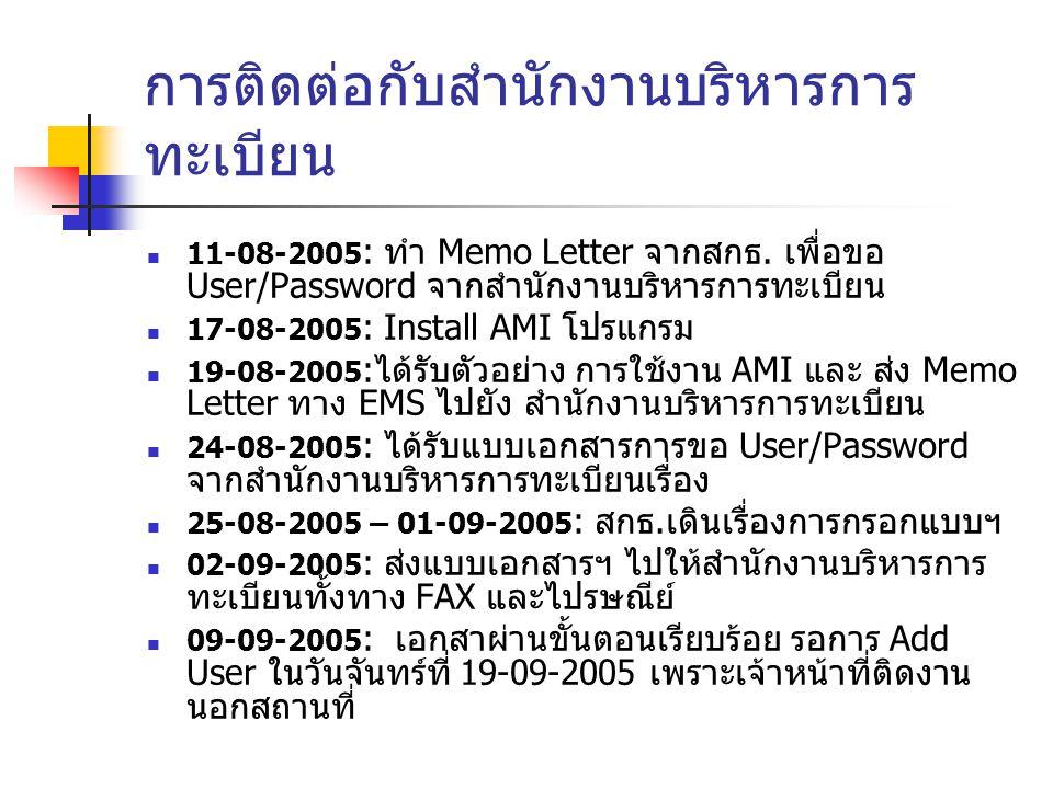 การติดต่อกับสำนักงานบริหารการ ทะเบียน 11-08-2005 : ทำ Memo Letter จากสกธ.