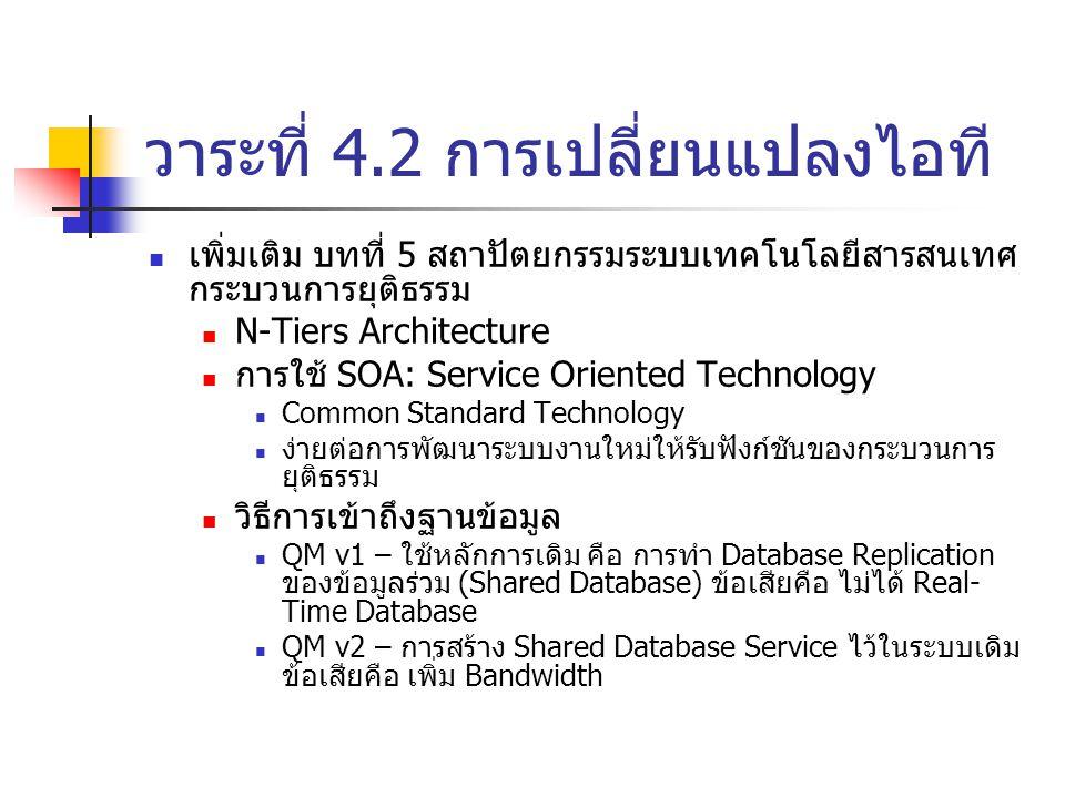 วาระที่ 4.2 การเปลี่ยนแปลงไอที เพิ่มเติม บทที่ 5 สถาปัตยกรรมระบบเทคโนโลยีสารสนเทศ กระบวนการยุติธรรม N-Tiers Architecture การใช้ SOA: Service Oriented Technology Common Standard Technology ง่ายต่อการพัฒนาระบบงานใหม่ให้รับฟังก์ชันของกระบวนการ ยุติธรรม วิธีการเข้าถึงฐานข้อมูล QM v1 – ใช้หลักการเดิม คือ การทำ Database Replication ของข้อมูลร่วม (Shared Database) ข้อเสียคือ ไม่ได้ Real- Time Database QM v2 – การสร้าง Shared Database Service ไว้ในระบบเดิม ข้อเสียคือ เพิ่ม Bandwidth