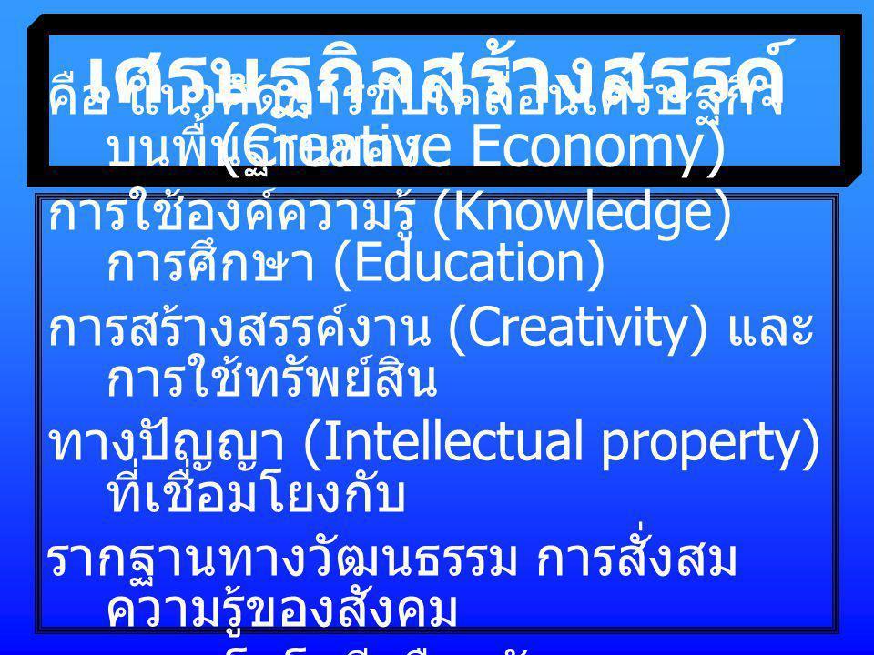 เศรษฐกิจสร้างสรรค์ (Creative Economy) คือ แนวคิดการขับเคลื่อนเศรษฐกิจ บนพื้นฐานของ การใช้องค์ความรู้ (Knowledge) การศึกษา (Education) การสร้างสรรค์งาน