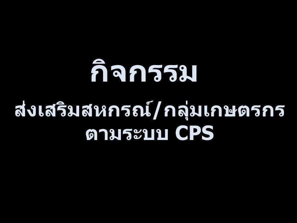 กิจกรรม ส่งเสริมสหกรณ์ / กลุ่มเกษตรกร ตามระบบ CPS