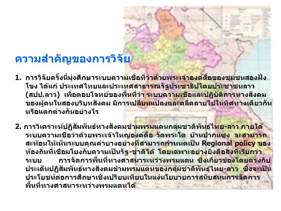 ความสำคัญของการวิจัย 1.การวิจัยครั้งนี้มุ่งศึกษาระบบความเชื่อที่ว่าด้วยพระเจ้าองค์ตื้อของชุมชนสองฝั่ง โขง ได้แก่ ประเทศไทยและประเทศสาธารณรัฐประชาธิปไต