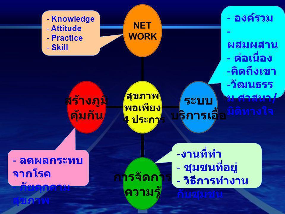 - องค์รวม - ผสมผสาน - ต่อเนื่อง - คิดถึงเขา - วัฒนธรร ม ศาสนา / มิติทางใจ - งานที่ทำ - ชุมชนที่อยู่ - วิธีการทำงาน กับชุมชน - Knowledge - Attitude - P
