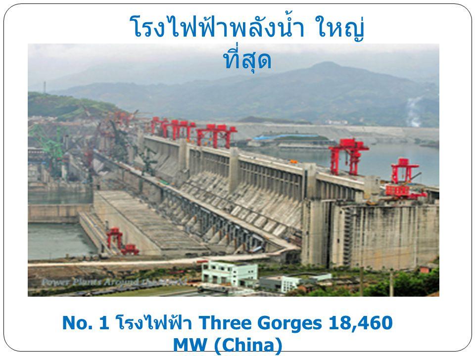 No. 1 โรงไฟฟ้า Three Gorges 18,460 MW (China) โรงไฟฟ้าพลังน้ำ ใหญ่ ที่สุด
