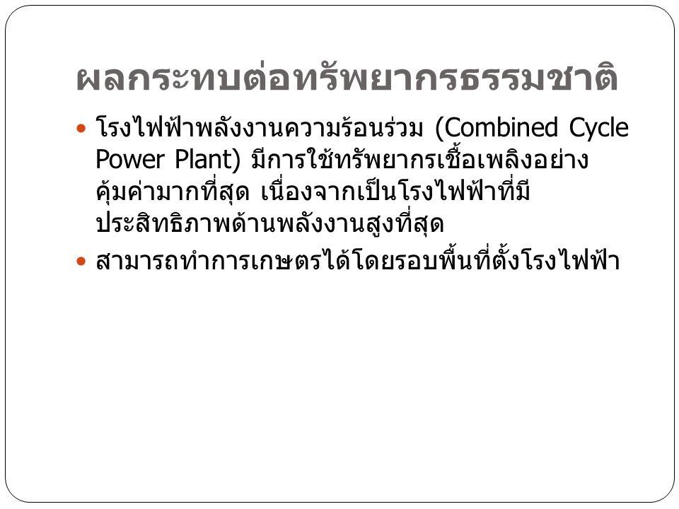 ผลกระทบต่อทรัพยากรธรรมชาติ โรงไฟฟ้าพลังงานความร้อนร่วม (Combined Cycle Power Plant) มีการใช้ทรัพยากรเชื้อเพลิงอย่าง คุ้มค่ามากที่สุด เนื่องจากเป็นโรงไฟฟ้าที่มี ประสิทธิภาพด้านพลังงานสูงที่สุด สามารถทำการเกษตรได้โดยรอบพื้นที่ตั้งโรงไฟฟ้า