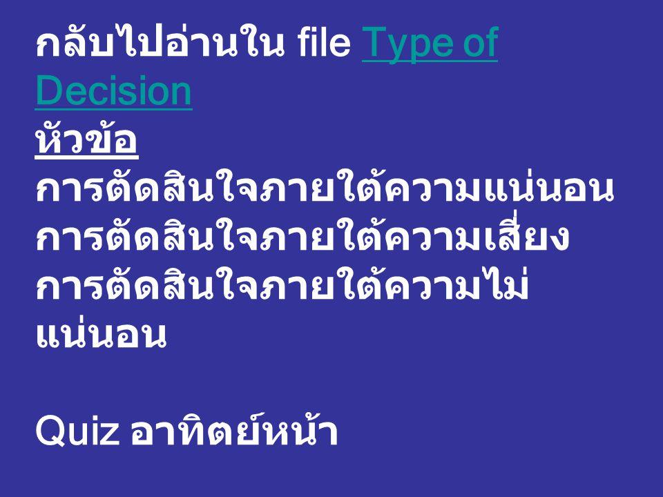 กลับไปอ่านใน file Type of Decision หัวข้อ การตัดสินใจภายใต้ความแน่นอน การตัดสินใจภายใต้ความเสี่ยง การตัดสินใจภายใต้ความไม่ แน่นอน Quiz อาทิตย์หน้าType