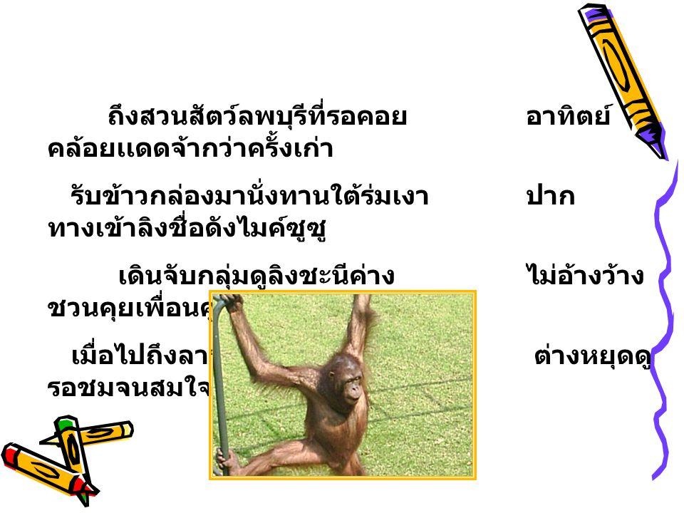 ถึงสวนสัตว์ลพบุรีที่รอคอยอาทิตย์ คล้อยเเดดจ้ากว่าครั้งเก่า รับข้าวกล่องมานั่งทานใต้ร่มเงาปาก ทางเข้าลิงชื่อดังไมค์ซูซู เดินจับกลุ่มดูลิงชะนีค่างไม่อ้างว้าง ชวนคุยเพื่อนคู่หู เมื่อไปถึงลานกว้างเเสดงงู ต่างหยุดดู รอชมจนสมใจ
