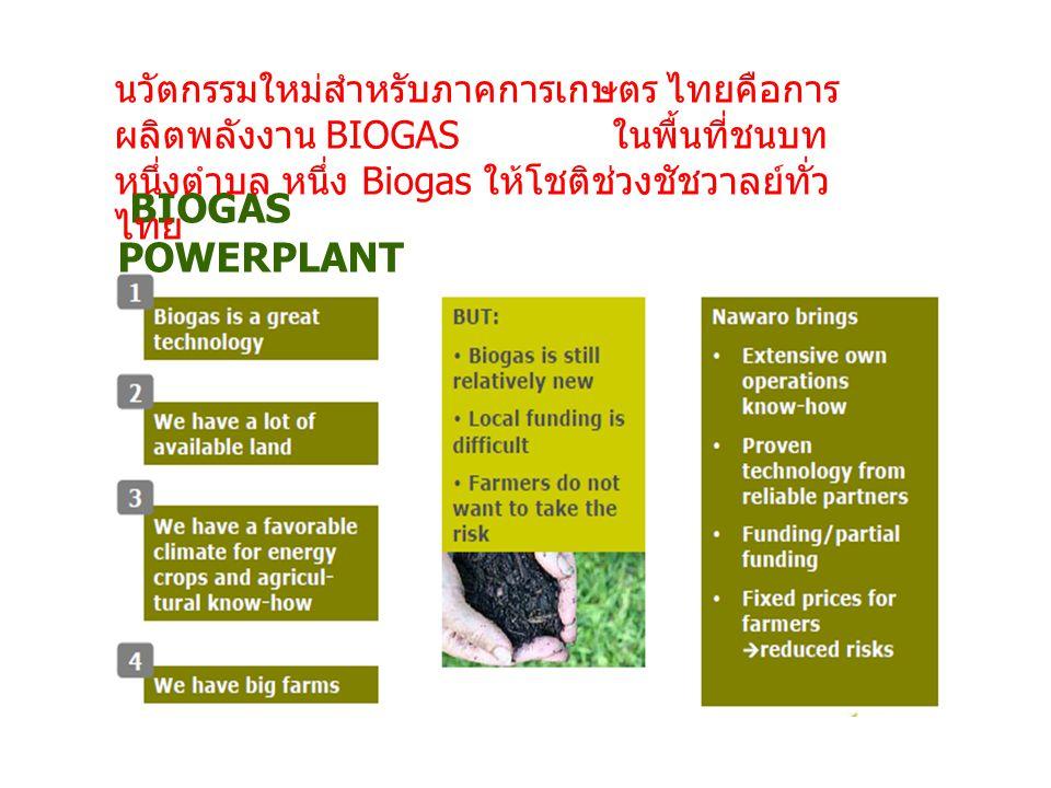 BIOGAS POWERPLANT นวัตกรรมใหม่สำหรับภาคการเกษตร ไทยคือการ ผลิตพลังงาน BIOGAS ในพื้นที่ชนบท หนึ่งตำบล หนึ่ง Biogas ให้โชติช่วงชัชวาลย์ทั่ว ไทย