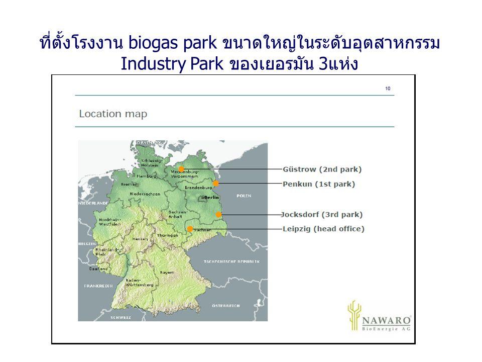 ที่ตั้งโรงงาน biogas park ขนาดใหญ่ในระดับอุตสาหกรรม Industry Park ของเยอรมัน 3 แห่ง