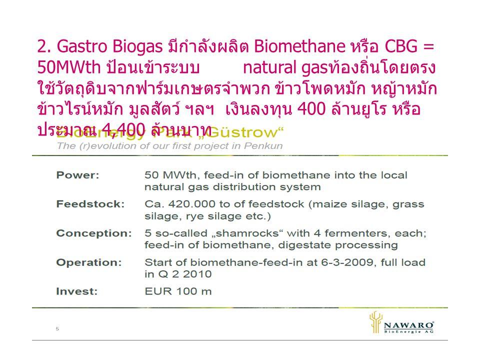 2. Gastro Biogas มีกำลังผลิต Biomethane หรือ CBG = 50MWth ป้อนเข้าระบบ natural gas ท้องถิ่นโดยตรง ใช้วัตถุดิบจากฟาร์มเกษตรจำพวก ข้าวโพดหมัก หญ้าหมัก ข