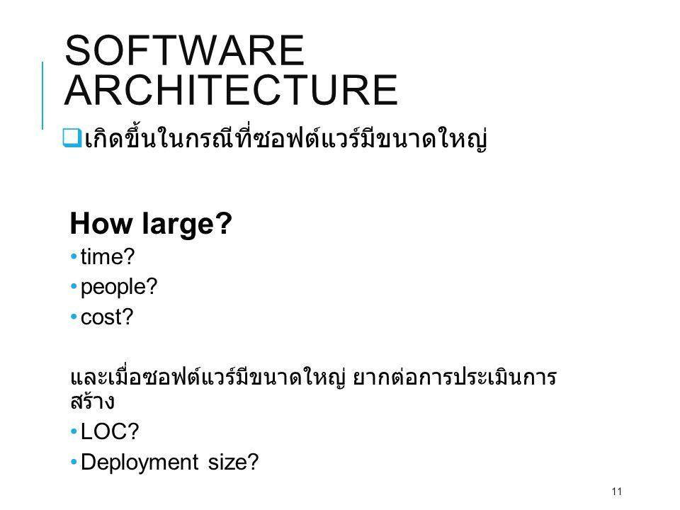 SOFTWARE ARCHITECTURE  เกิดขึ้นในกรณีที่ซอฟต์แวร์มีขนาดใหญ่ How large.