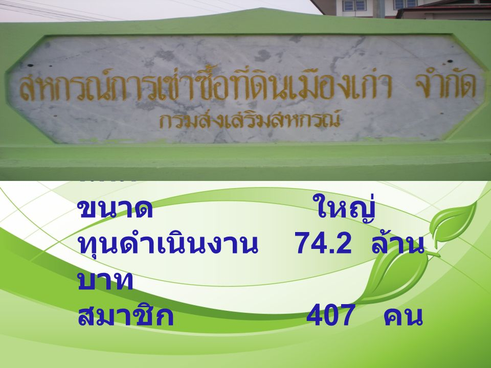 ประเภท สหกรณ์ นิคม ขนาด ใหญ่ ทุนดำเนินงาน 74.2 ล้าน บาท สมาชิก 407 คน