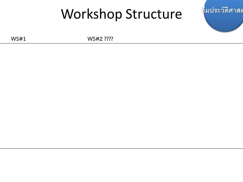 Workshop Structure WS#1WS#2 ???? ทีมประวัติศาสตร์