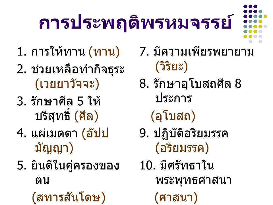 การประพฤติพรหมจรรย์ 1. การให้ทาน ( ทาน ) 2. ช่วยเหลือทำกิจธุระ ( เวยยาวัจจะ ) 3. รักษาศีล 5 ให้ บริสุทธิ์ ( ศีล ) 4. แผ่เมตตา ( อัปป มัญญา ) 5. ยินดีใ