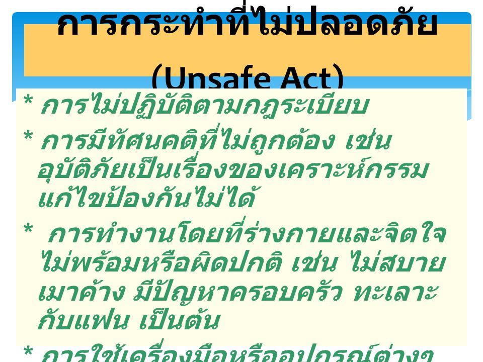 6 การกระทำที่ไม่ปลอดภัย (Unsafe Act) * การไม่ปฏิบัติตามกฎระเบียบ * การมีทัศนคติที่ไม่ถูกต้อง เช่น อุบัติภัยเป็นเรื่องของเคราะห์กรรม แก้ไขป้องกันไม่ได้