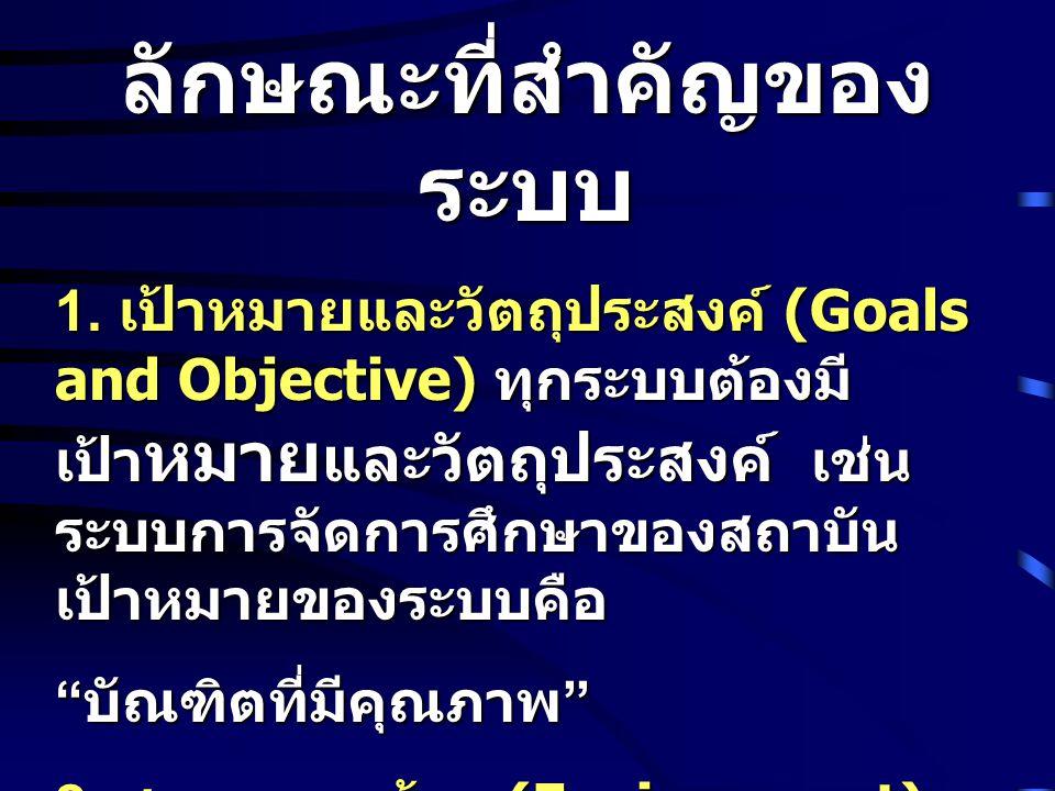 ลักษณะที่สำคัญของ ระบบ 1. เป้าหมายและวัตถุประสงค์ (Goals and Objective) ทุกระบบต้องมี เป้า หมาย และวัตถุประสงค์ เช่น ระบบการจัดการศึกษาของสถาบัน เป้าห