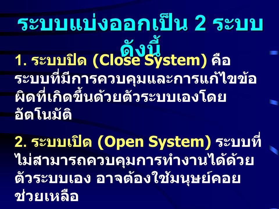 ระบบแบ่งออกเป็น 2 ระบบ ดังนี้ 1. ระบบปิด (Close System) คือ ระบบที่มีการควบคุมและการแก้ไขข้อ ผิดที่เกิดขึ้นด้วยตัวระบบเองโดย อัตโนมัติ 2. ระบบเปิด (Op