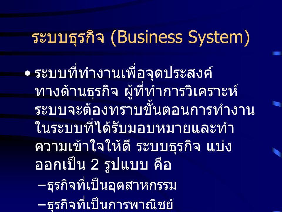 ระบบธุรกิจ (Business System) ระบบที่ทำงานเพื่อจุดประสงค์ ทางด้านธุรกิจ ผู้ที่ทำการวิเคราะห์ ระบบจะต้องทราบขั้นตอนการทำงาน ในระบบที่ได้รับมอบหมายและทำ