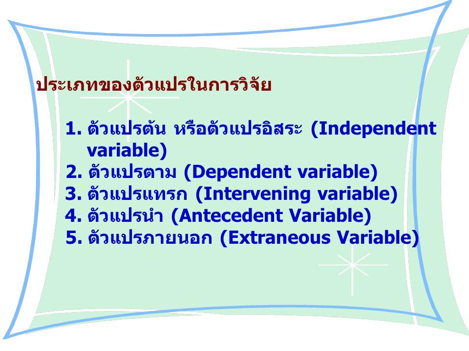 ประเภทของตัวแปรในการวิจัย 1. ตัวแปรต้น หรือตัวแปรอิสระ (Independent variable) 2. ตัวแปรตาม (Dependent variable) 3. ตัวแปรแทรก (Intervening variable) 4
