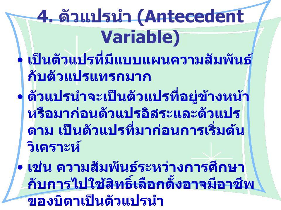 4. ตัวแปรนำ (Antecedent Variable) เป็นตัวแปรที่มีแบบแผนความสัมพันธ์ กับตัวแปรแทรกมาก ตัวแปรนำจะเป็นตัวแปรที่อยู่ข้างหน้า หรือมาก่อนตัวแปรอิสระและตัวแป