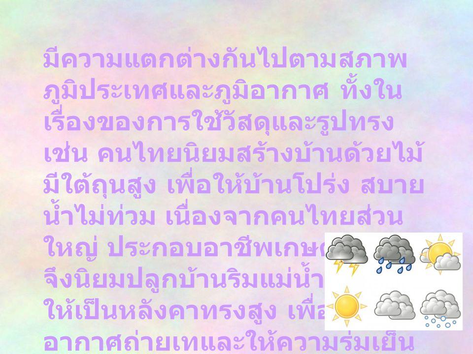 2. คนไทยนิยมสร้าง บ้านลักษณะ อย่างไร