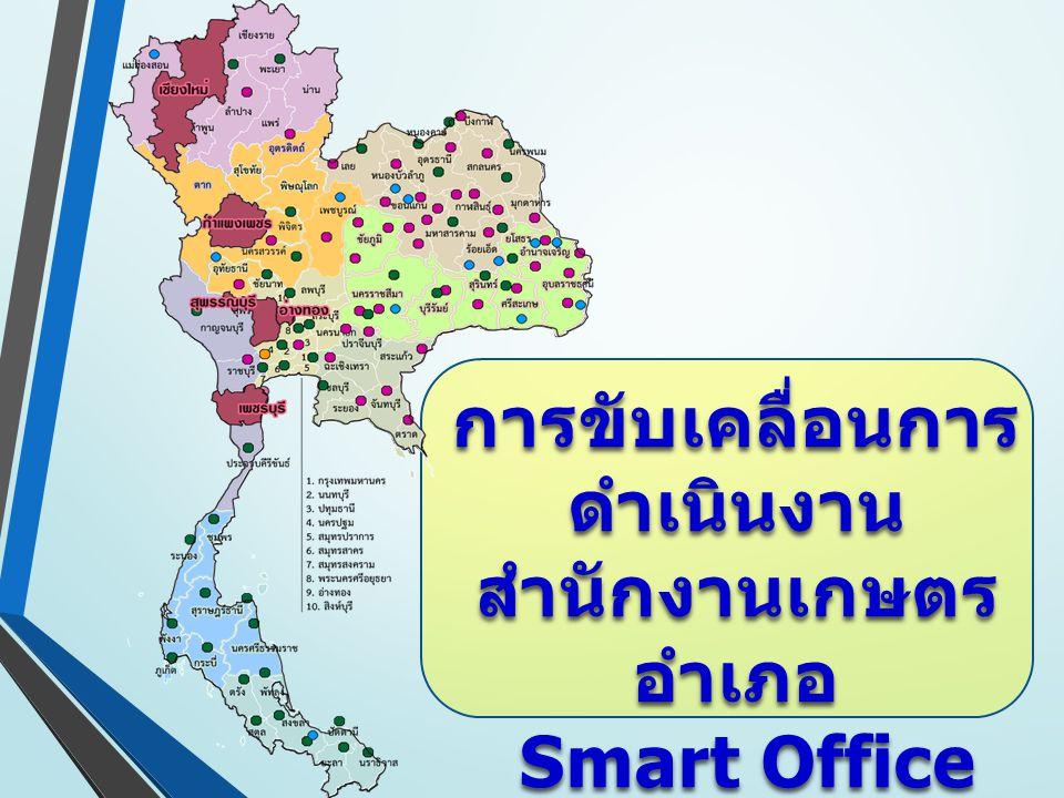 การขับเคลื่อนการ ดำเนินงาน สำนักงานเกษตร อำเภอ Smart Office ประจำปี 2558 Smart Office ประจำปี 2558
