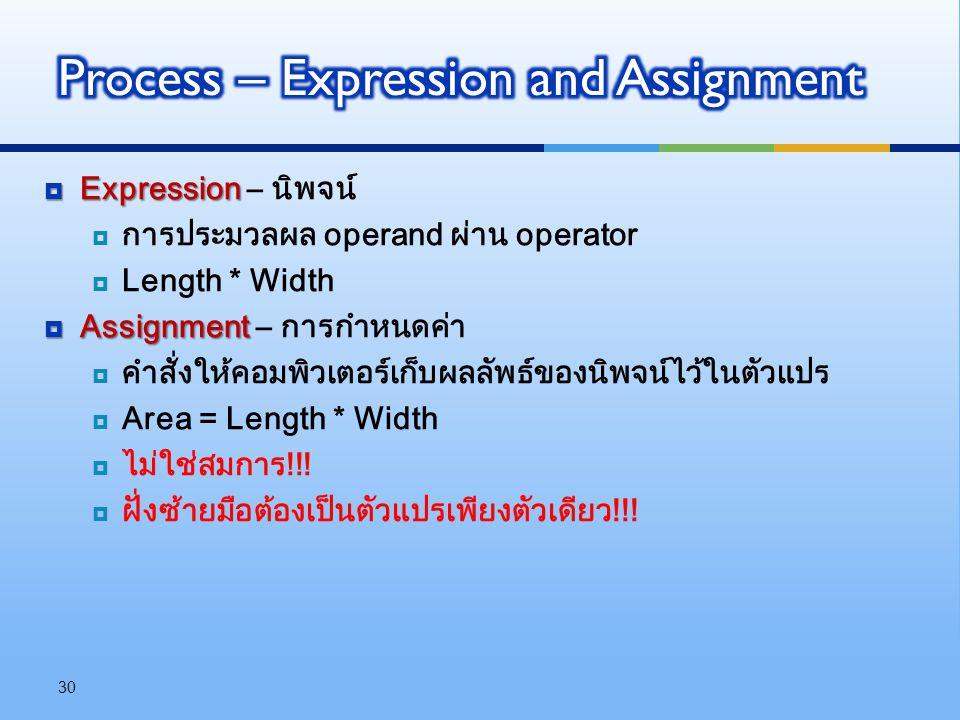  Expression  Expression – นิพจน์  การประมวลผล operand ผ่าน operator  Length * Width  Assignment  Assignment – การกำหนดค่า  คำสั่งให้คอมพิวเตอร์