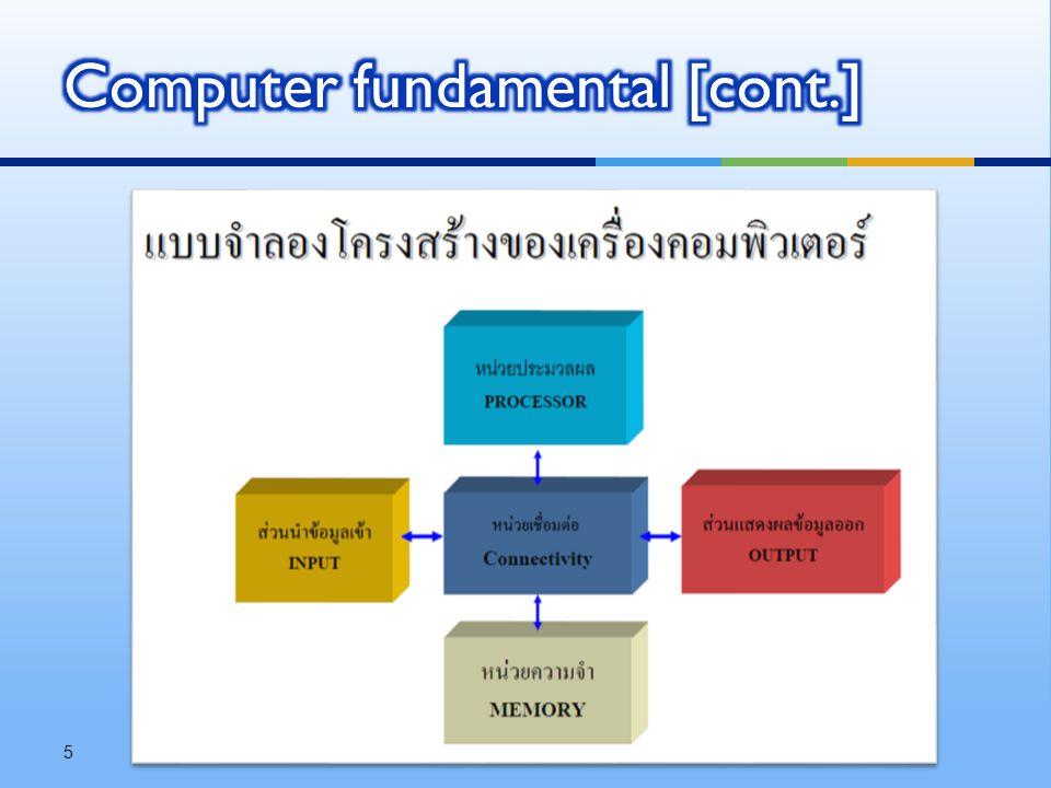  งานพื้นฐานของคอมพิวเตอร์  รับข้อมูล (data) ผ่าน input  แสดงผลข้อมูล (data) ผ่าน output  จัดเก็บ / ดึง ข้อมูล (data) ลงใน memory  ประมวลผลข้อมูล (data) ด้วย processor  คำนวณทางคณิตศาสตร์, เปรียบเทียบ, ตรรกศาสตร์ 6