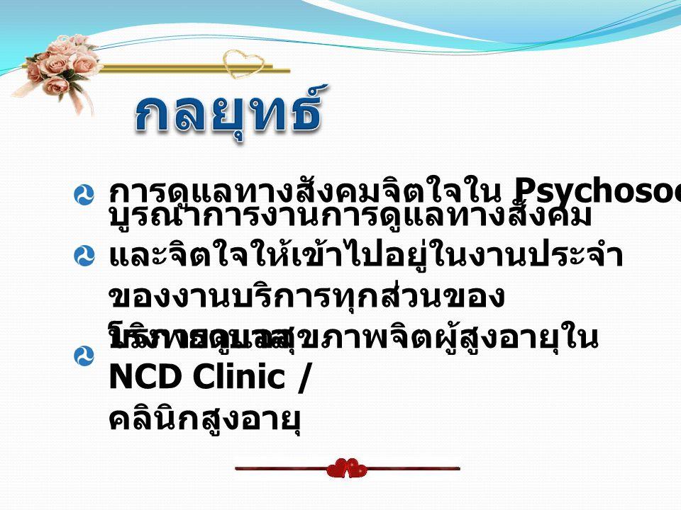 การดูแลทางสังคมจิตใจใน Psychosocial Clinic บูรณาการงานการดูแลทางสังคม และจิตใจให้เข้าไปอยู่ในงานประจำ ของงานบริการทุกส่วนของ โรงพยาบาล บริการดูแลสุขภา