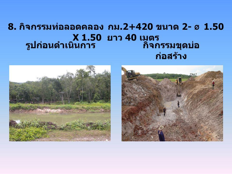 8. กิจกรรมท่อลอดคลอง กม.2+420 ขนาด 2- Ø 1.50 X 1.50 ยาว 40 เมตร รูปก่อนดำเนินการกิจกรรมขุดบ่อ ก่อสร้าง