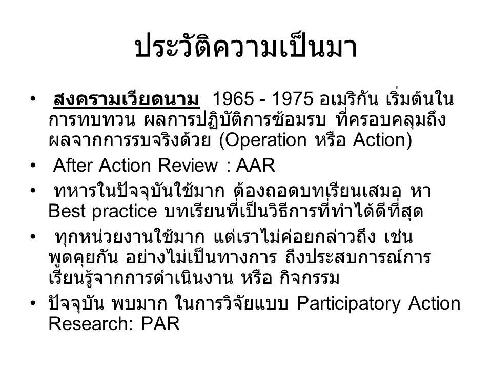 ประวัติความเป็นมา สงครามเวียดนาม 1965 - 1975 อเมริกัน เริ่มต้นใน การทบทวน ผลการปฏิบัติการซ้อมรบ ที่ครอบคลุมถึง ผลจากการรบจริงด้วย (Operation หรือ Action) After Action Review : AAR ทหารในปัจจุบันใช้มาก ต้องถอดบทเรียนเสมอ หา Best practice บทเรียนที่เป็นวิธีการที่ทำได้ดีที่สุด ทุกหน่วยงานใช้มาก แต่เราไม่ค่อยกล่าวถึง เช่น พูดคุยกัน อย่างไม่เป็นทางการ ถึงประสบการณ์การ เรียนรู้จากการดำเนินงาน หรือ กิจกรรม ปัจจุบัน พบมาก ในการวิจัยแบบ Participatory Action Research: PAR