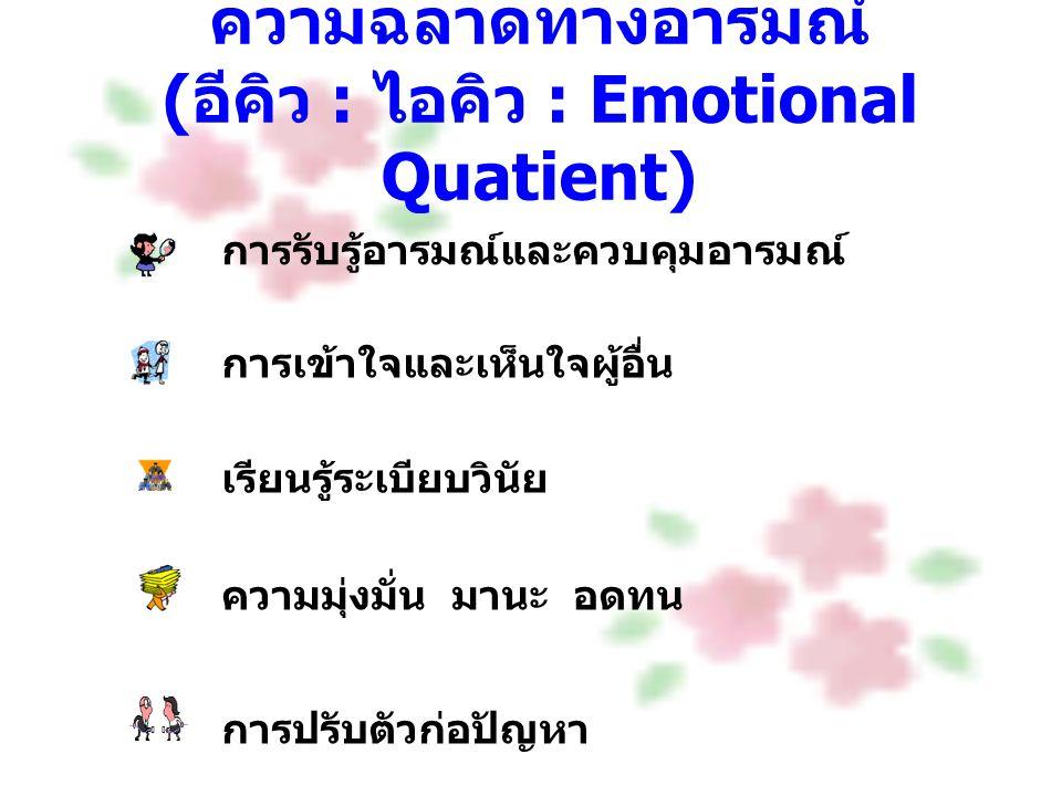 ความฉลาดทางอารมณ์ ( อีคิว : ไอคิว : Emotional Quatient) การรับรู้อารมณ์และควบคุมอารมณ์ การเข้าใจและเห็นใจผู้อื่น เรียนรู้ระเบียบวินัย ความมุ่งมั่น มาน