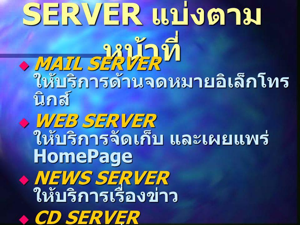 SERVER แบ่งตาม หน้าที่  MAIL SERVER ให้บริการด้านจดหมายอิเล็กโทร นิกส์  WEB SERVER ให้บริการจัดเก็บ และเผยแพร่ HomePage  NEWS SERVER ให้บริการเรื่องข่าว  CD SERVER ให้บริการเรื่องซีดี
