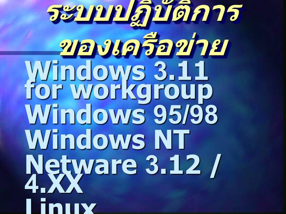 ระบบปฏิบัติการ ของเครือข่าย Windows 3.11 for workgroup Windows 95/98 Windows NT Netware 3.12 / 4.XX Linux