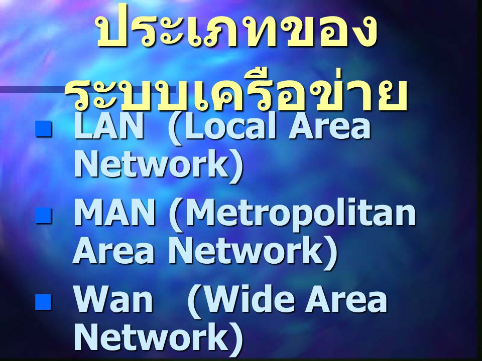 ประเภทของ ระบบเครือข่าย LAN (Local Area Network) LAN (Local Area Network) MAN (Metropolitan Area Network) MAN (Metropolitan Area Network) Wan (Wide Ar