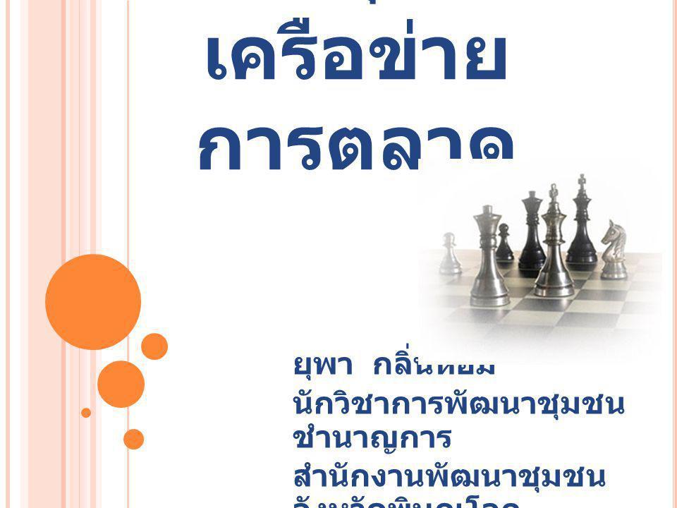กระบวนการ กลุ่ม เครือข่าย การตลาด ยุพา กลิ่นหอม นักวิชาการพัฒนาชุมชน ชำนาญการ สำนักงานพัฒนาชุมชน จังหวัดพิษณุโลก
